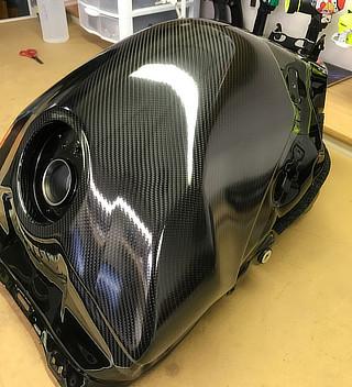 carbon fiber wrap on motorcycle - Crazy Joe's Wraps South Beloit, IL