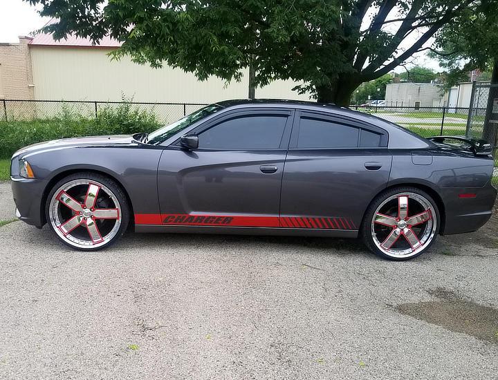 grey red car vinyl wrap