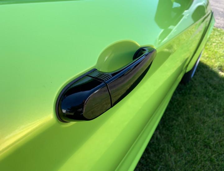 green car door handle vinyl wrap