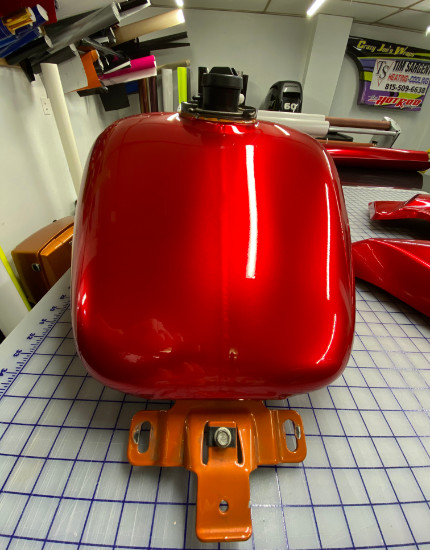 red vinyl wrap for motorcycle gas tank