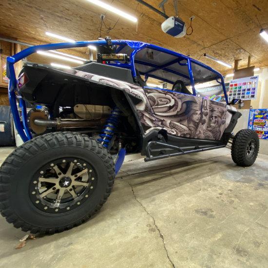 Blue ATV vinyl wrap