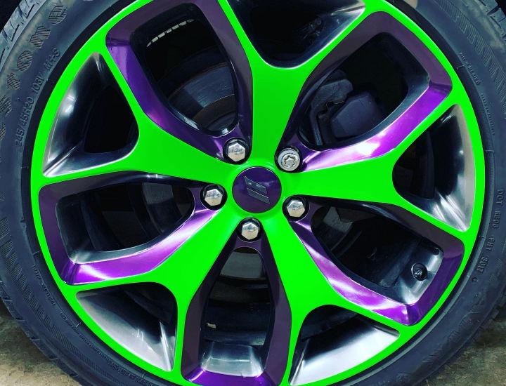 Green and Purple Wheel Wrap