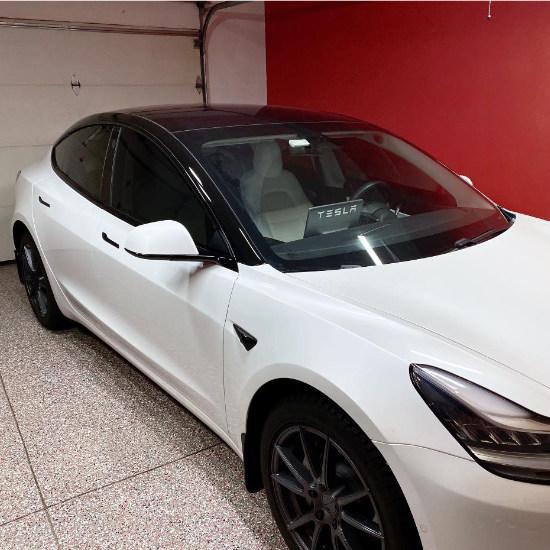 White Tesla Exterior Chrome Delete