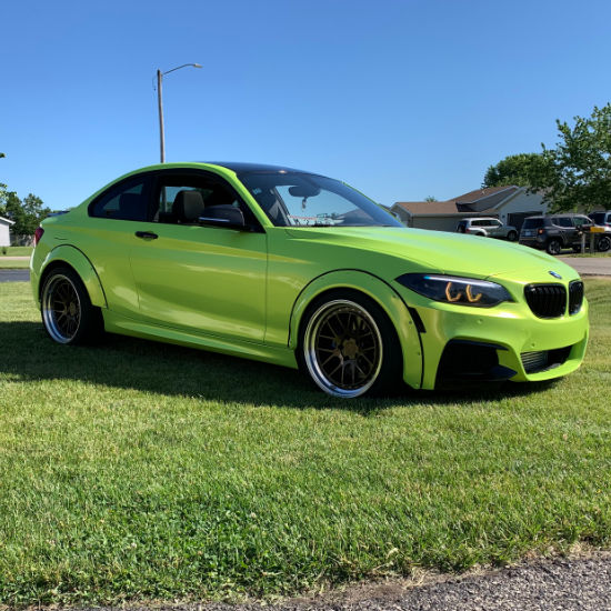 Green BMW Car Wrap Right View